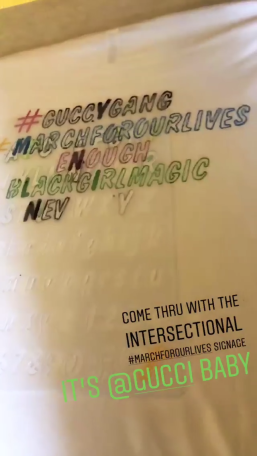 From the Gucci New York #MarchForOurLives poster rally party hosted by Elaine Welteroth and Cleo Wade. (photo: courtesy of Instagram)