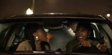 Nathan (Sampson) and random LYFT passenger (Stroter) become violent. Issa (Rae) and Molly (Orji) freak out.
