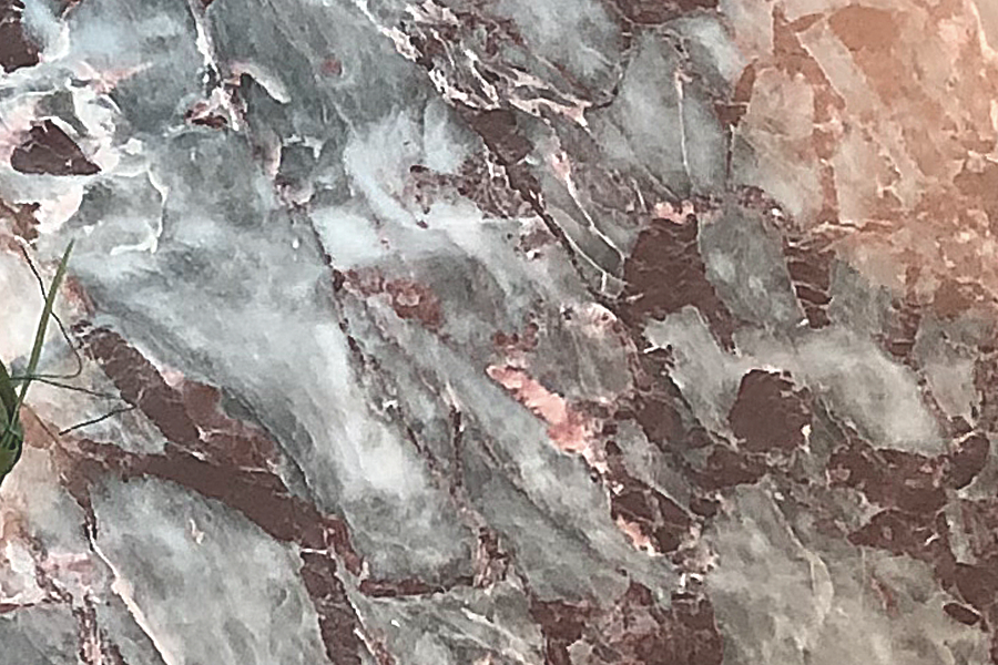 Rescued marble repurposed for foyer and kitchen dining tables. (photo Nichelle Cole)