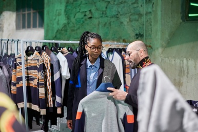 Editor in the 'Unconventional' section of the fiera: the sector dedicated towards brands with a street and sporty leaning aesthetic. (photo: AKAstudio-collective)