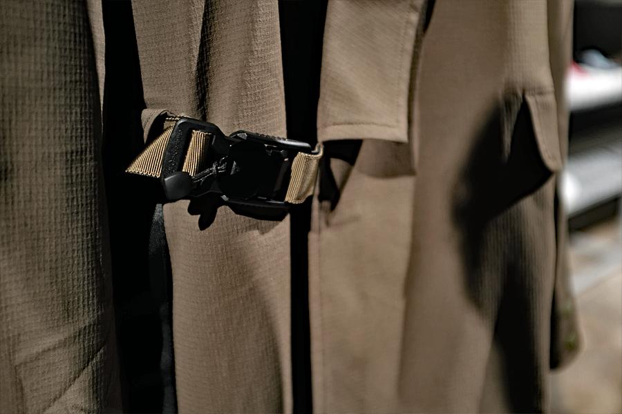 New vs. classic menswear styles: Details from the Oqliq Kimono Jacket Spring 2020 collection (photo: Lucas Pantoja)