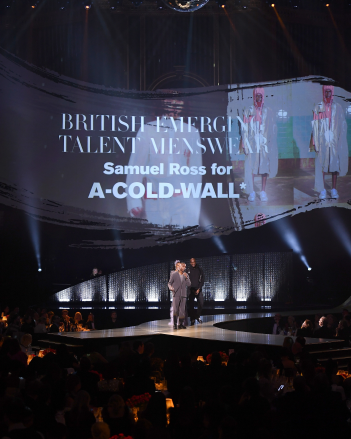 Designer Samuel Ross of A Cold Wall* accepts the British Emerging Talent Menswear award at The British Fashion Awards (2018).