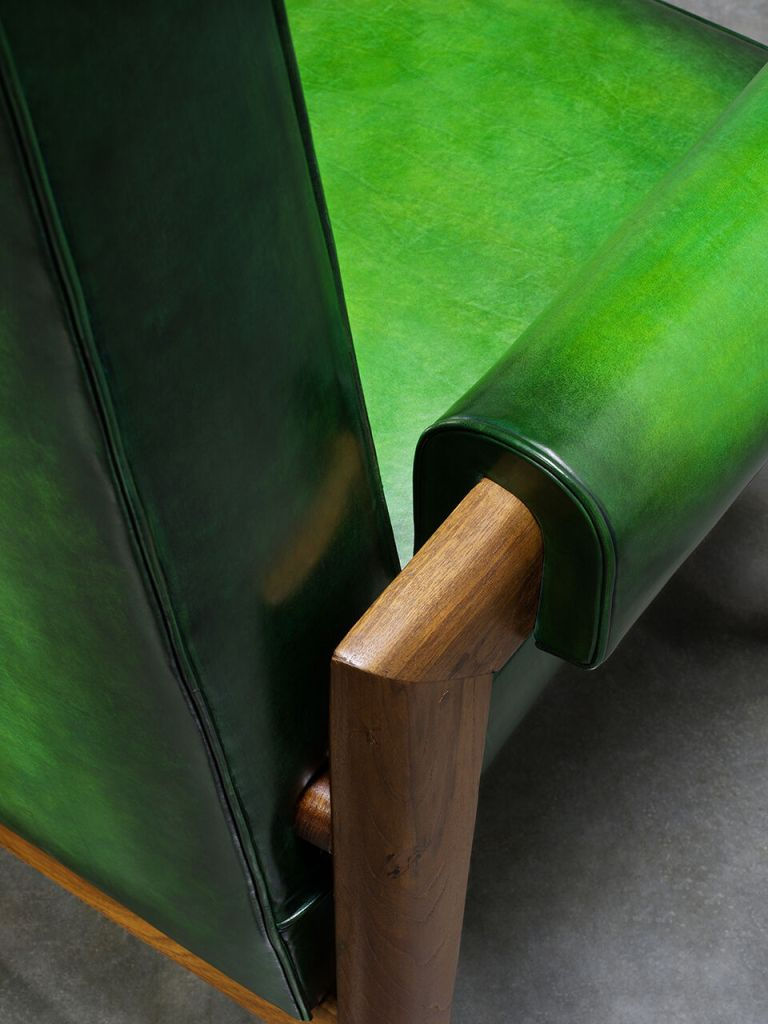 Pierre Jeanneret chair restored by Berluti (photo: courtesy Berluti)