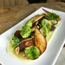 Sprouts with pear, parsnips, and hazelnuts (photo: courtesy)