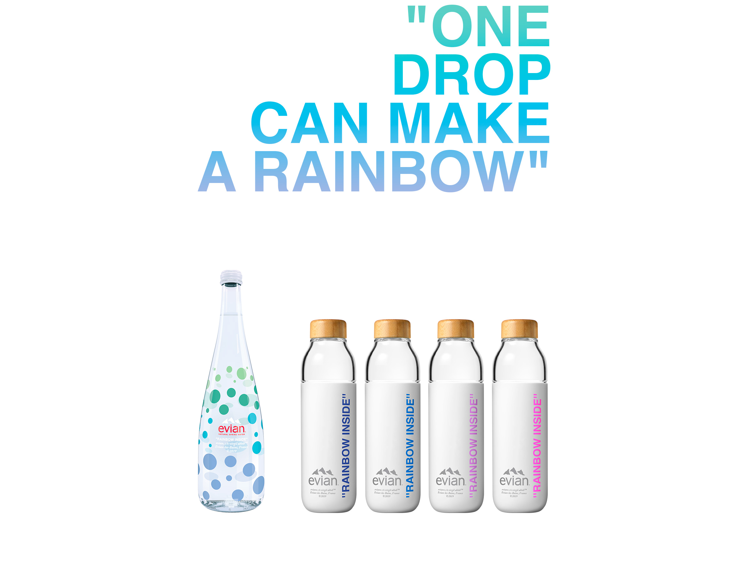 """Evian Limited Edition """"One Drop"""" water bottle designed by Virgil Abloh (photo: courtesy Evian)"""
