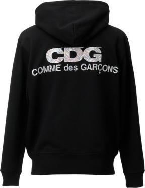 Commes des Garçons hologram hoodie, 100% cotton, $190.