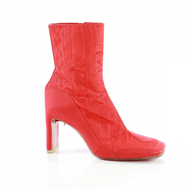 Marine Serre x Nicholas Kirkwood high heel boot, trademarked french Moire textile, $1200.