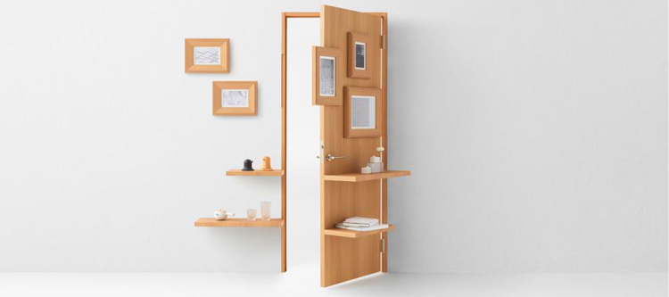 The Nendo for Abe Kogyo door is the latest creation for the company as they mark their 70th anniversary. Seven doors were designed for the occasion including this striking Nendo variation which incorporates shelving as an illusionary concept rarely seen today. (photo: courtesy)
