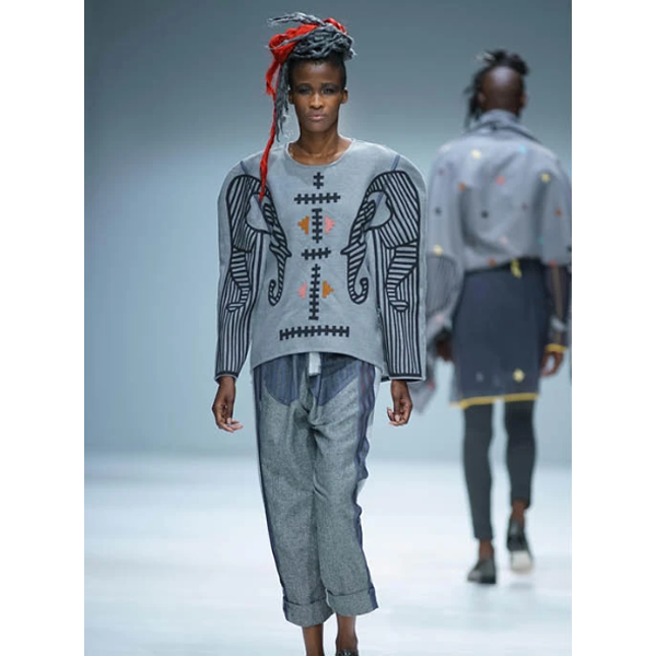 Runway design by Loin Cloth & Ashes launched in 2008 by Johannesburg-based fashion designer Anisa Mpungwe.