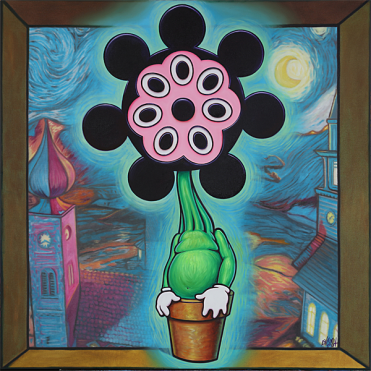 """""""Mickey Flower"""" (2018) by Ron English. Oil on canvas:48 x 48 in."""