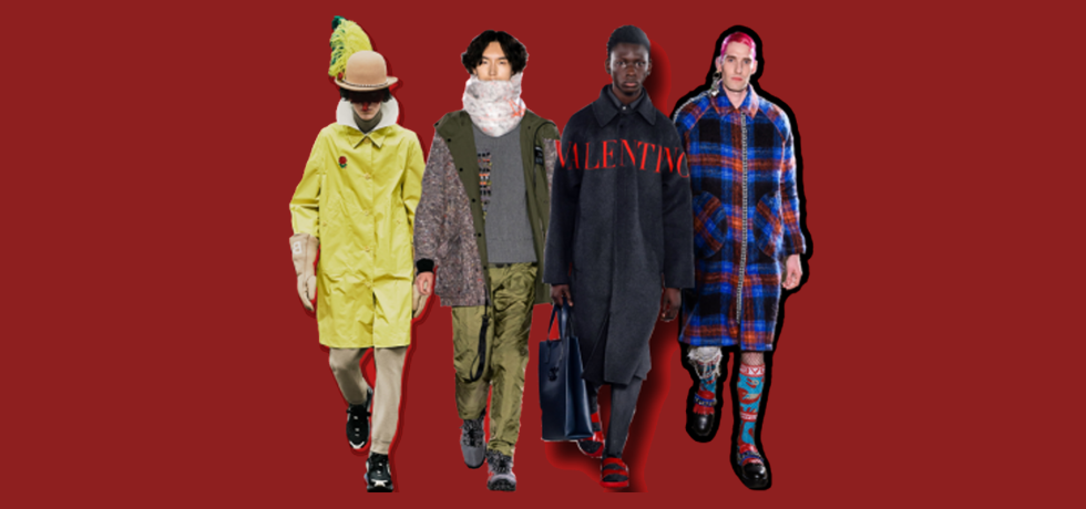 Top 9 Fall 2019 Menswear Trends (Designers from right, Undercover, Raeburn, Valentino, Charles Jeffrey for Loverboy)