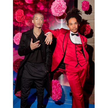 Luka Sabbat in a red suit (right) with musician Jaden Smith. (Courtesy photo, 2018)