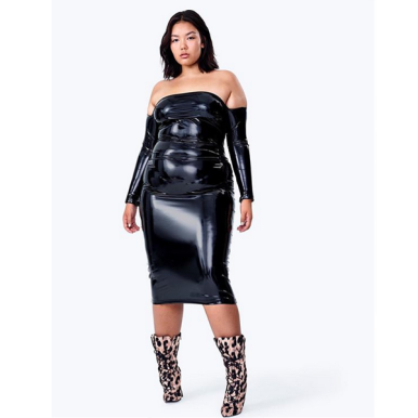 Model in a super sexy LaQuan Smith for ASOS dress with a patented high shine coating.