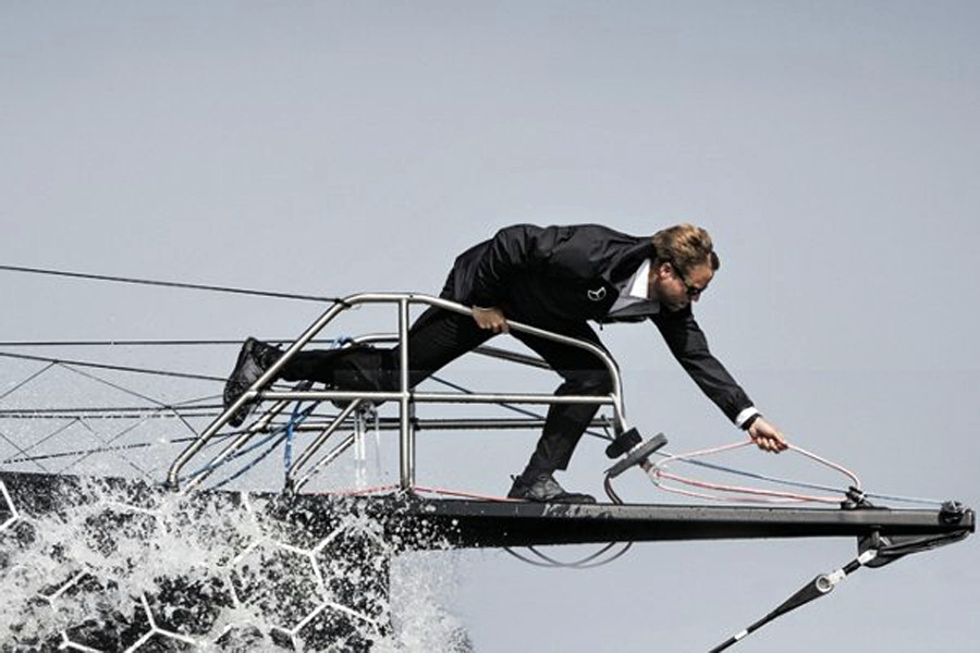 Boss yachtsman Alex Thompson in Hugo Boss (photo: courtesy Hugo Boss)