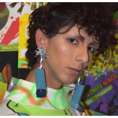 Inhaler accessories at the Simon Cracker SS19 fashion show.