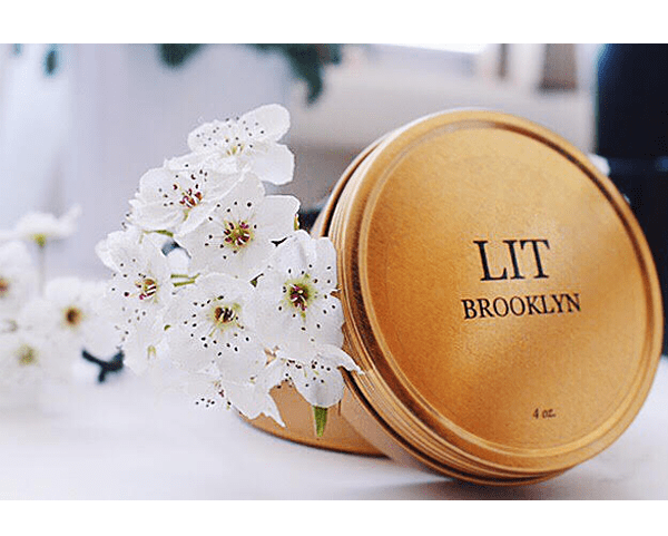 """Lit Brooklyn """"Home"""" Naturally Scented Candle, $14 USD."""