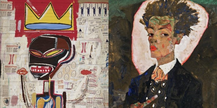 Paintings by Jean-Michel Basquiat (1960-1988) and Egon Schiele (1890-1918) on display at the Louis Vuitton Foundation.