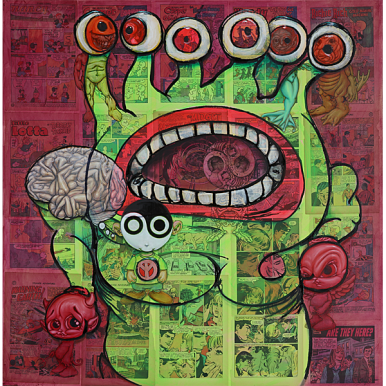 """Monster Jeremiah"""" (2018) by Ron English. 2018. Oil, acrylic and collage on canvas: 36 x 36 in."""