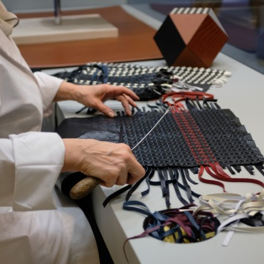 Serapian's luxurious hand-woven leather design produced in an Italian atelier.