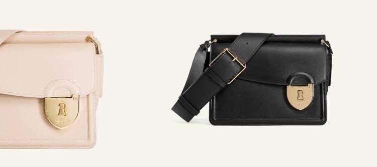 "New Schiaparelli ""Secret"" bag in Bourgogne calfskin with gold-plated brass padlock fastening detail. (photo: courtesy Elsa Schiaparelli)"