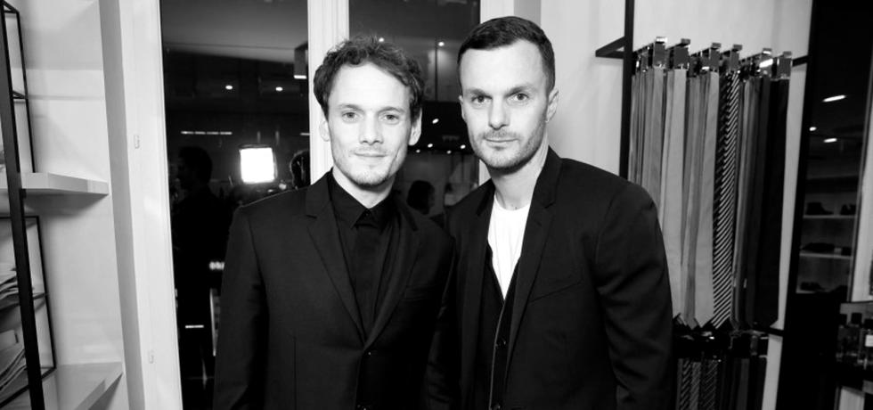 Anton Yelchin and Kris Van Assche at the new Dior Men store opening in Paris. (photo: courtesy)