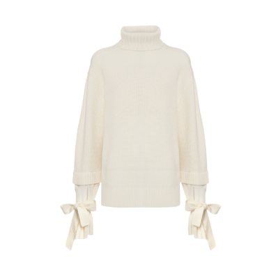 Mother of Pearl, Luca chunky knit jumper in ivory wool by Mother of Pearl. ($515 USD, photo: Mother of Pearl)