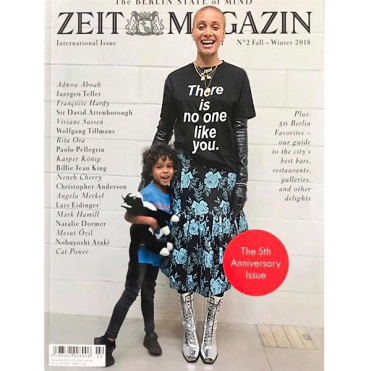 Adowa Aboah in Lutz Huelle Fall 2018 collection on the cover of Zeit Magazine.