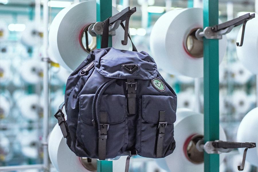 The new Prada ReNylon backpack at a nylon regeneration mill in Slovenia. (photo: Prada)