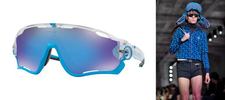 Model in Oakley reflector glasses during Milan Fashion Week.