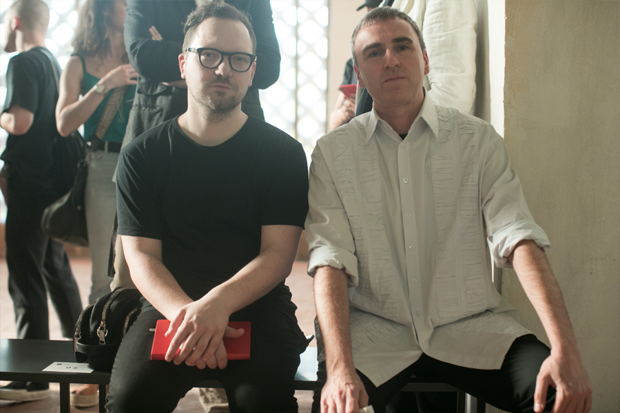 Pitti Uomo's biggest stories: Raf Simons (right) at the S.R. Studio LA. CA. show presented during Pitti Uomo (photo: Pitti Uomo)