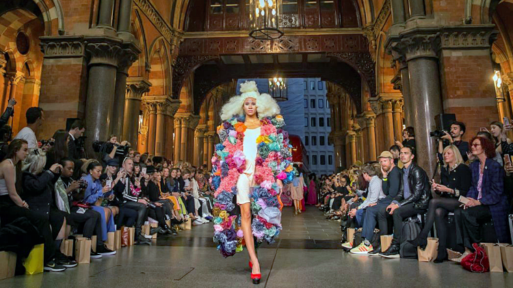 A model on the runway during the Vin + Omi show at the London Fashion Week opening. Photograph: Jonny Weeks/The Guardian