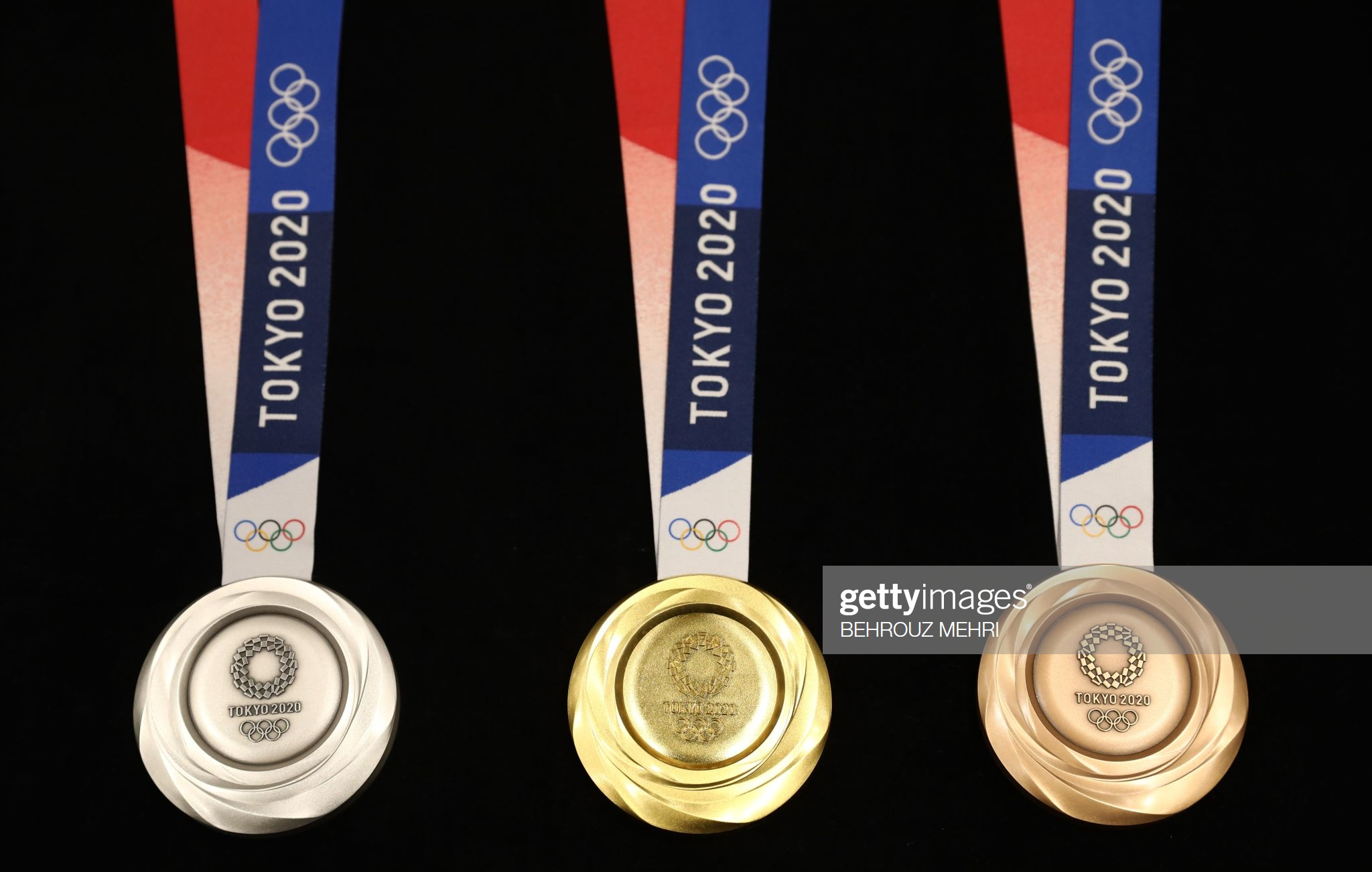 Photo from the 2020 Olympic Games Medal unveiling ceremony in Tokyo, Japan, 2019. (Photo: BEHROUZ MEHRI/AFP via Getty Images)