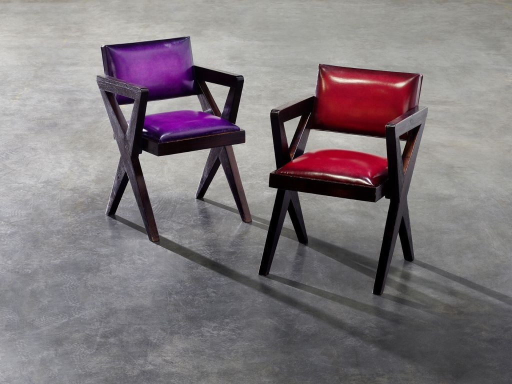 Pierre Jeanneret chairs restored by Berluti (photo: courtesy Berluti)