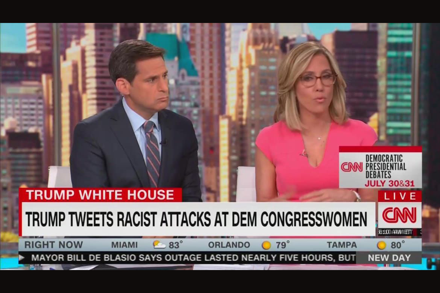 """Journalists """"reacting to President Trump's openly racist and xenophobic call for Democratic congresswomen of color to """"go back"""" to the countries """"they came"""" from"""", via Yahoo News. (photo: Yahoo)"""