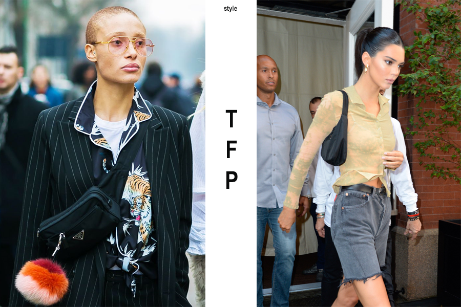 Left, Adwoa Aboah with the Prada nylon fannypack, Right, Kendall Jenner with the classic Prada nylon shoulder bag. (photo: courtesy)